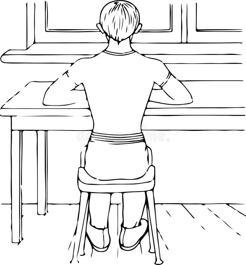 一个正确姿势的例子人应该有,当他坐在桌上 向量例证