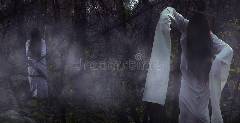 一个死的女孩的画象在万圣夜在一个阴沉的森林里 免版税库存图片