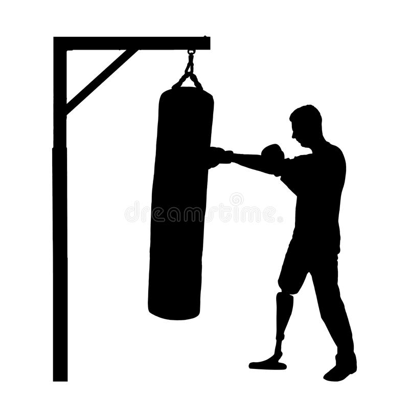 一个残疾人的剪影有腿假肢的,参与拳击 库存例证