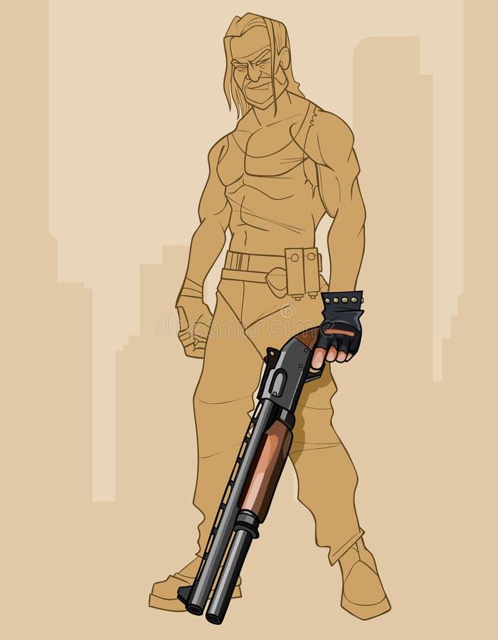 一个残酷人的单色剪影有一杆巨大的枪的 皇族释放例证