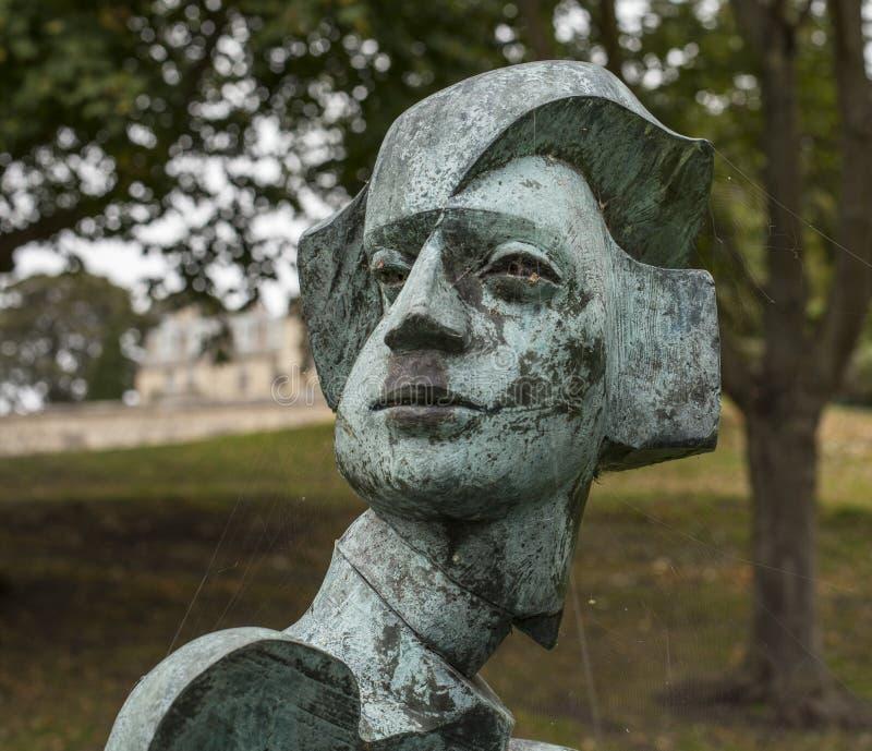 一个母亲和一个儿童雕塑在林肯,面孔的特写镜头 免版税图库摄影