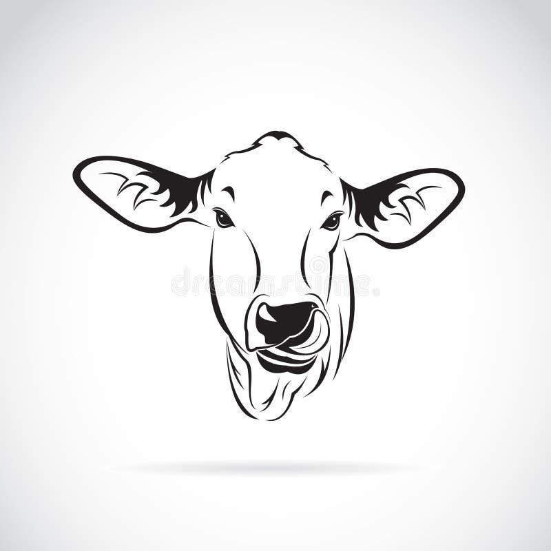 一个母牛头的传染媒介在白色背景的 库存例证