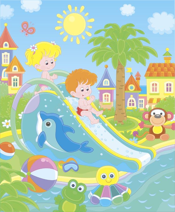 一个水滑道的小孩子在aquapark 库存例证