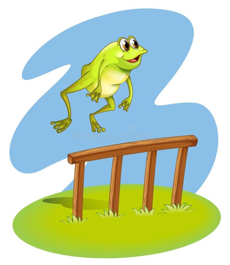 一个池蛙卖力 库存例证