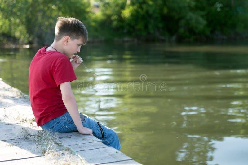 一个沉思男孩坐一个木码头,降低他的脚在水中和啃草叶 库存图片