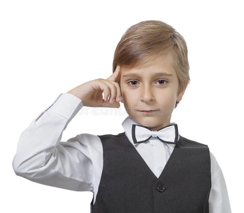 一个沉思青少年的男孩的情感画象 图库摄影