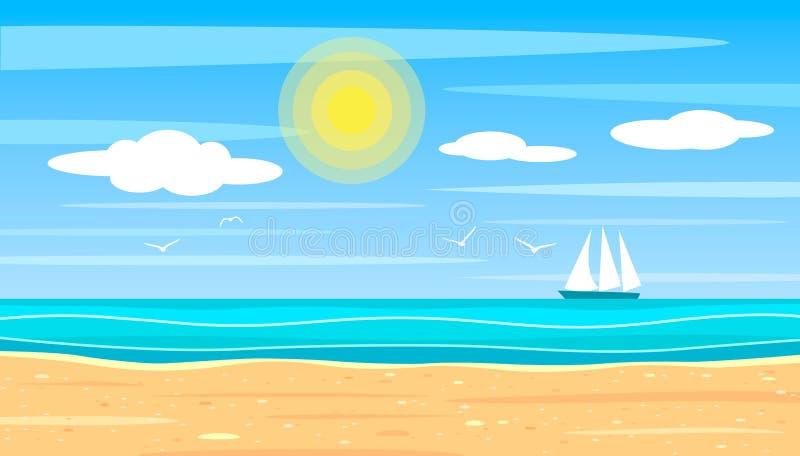 一个沙滩的明亮的风景在海洋的背景的在一明亮的好日子 在天际的风船船与海鸥 皇族释放例证