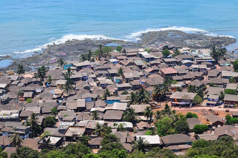 一个沿海村庄在Konkan地区在印度 库存照片