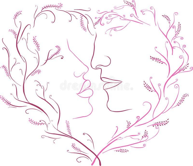 一个浪漫亲吻的图象在一个框架的与心脏 库存例证