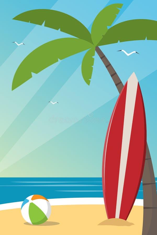 一个海滩的垂直的图象与冲浪板的 向量例证