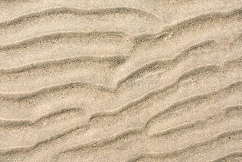 一个海滩的沙子样式特写镜头在夏天 库存图片
