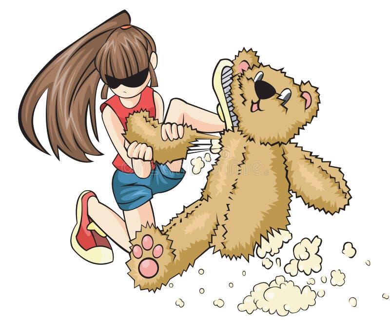 一个淘气女孩毁坏一玩具熊aggressi 向量例证