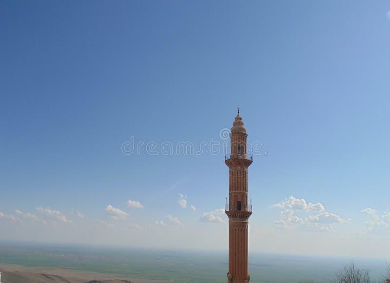 一个清真寺的尖塔在马尔丁市,土耳其 图库摄影