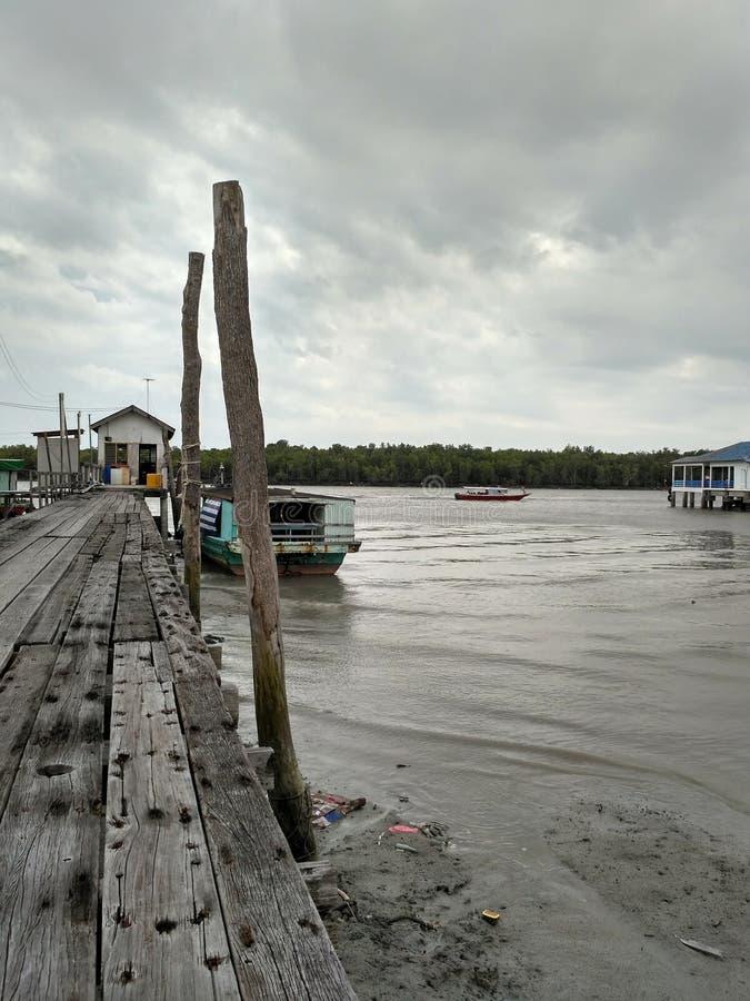 一个渔村 库存照片