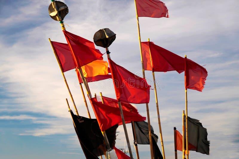 一个渔船的五颜六色的旗子 库存图片