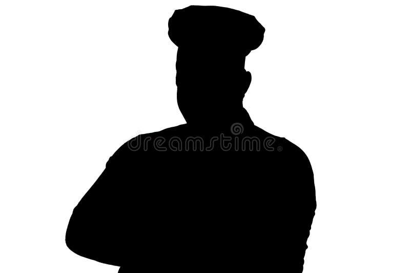 一个温厚的人的剪影画象烹饪器材衣裳的,厨师在他的胸口的折叠手在白色被隔绝的背景 向量例证