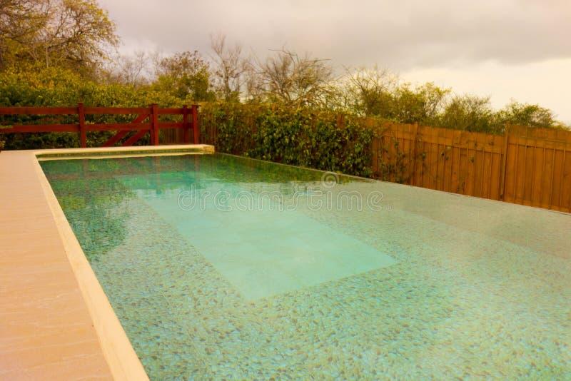 一个游泳池在热带 免版税库存图片