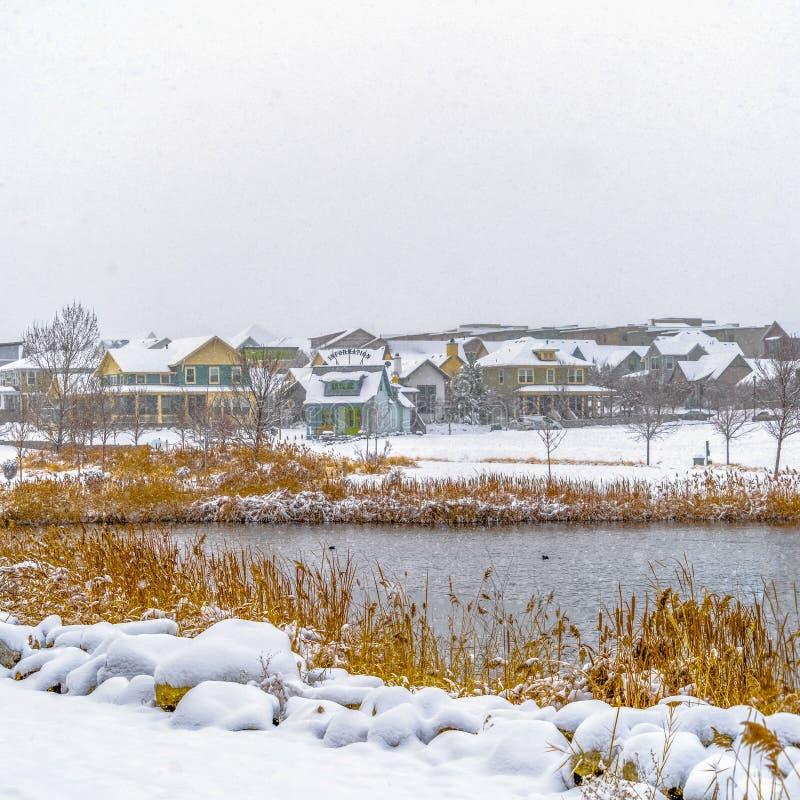一个湖与木甲板和多雪的岸的清楚的方形的全景破晓的犹他在冬天 库存图片