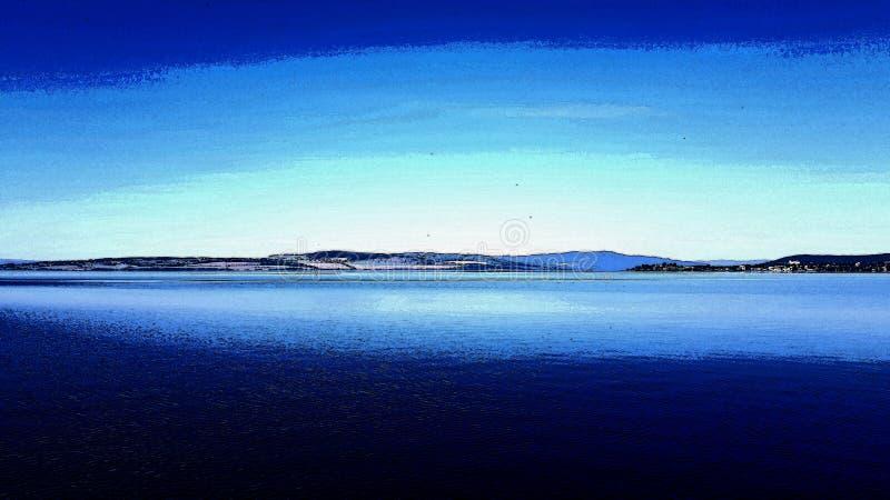 一个湖的图象有图画作用的 库存照片