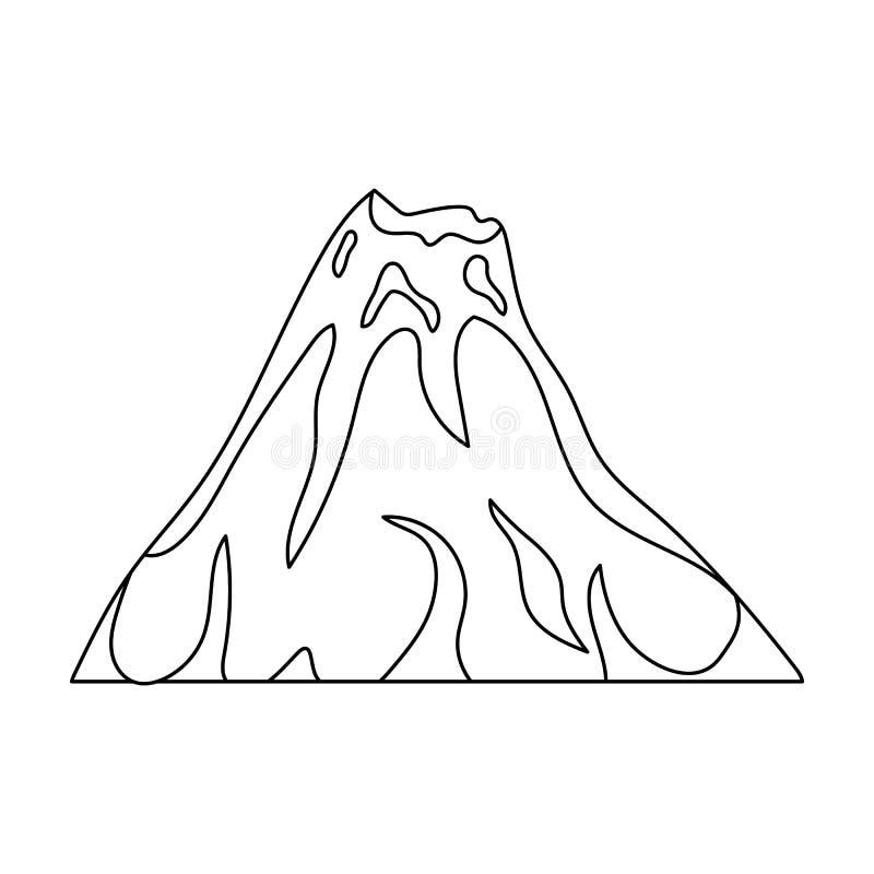 一个火热的火山 有火山爆发的山 不同的山选拔在概述样式传染媒介的象 向量例证