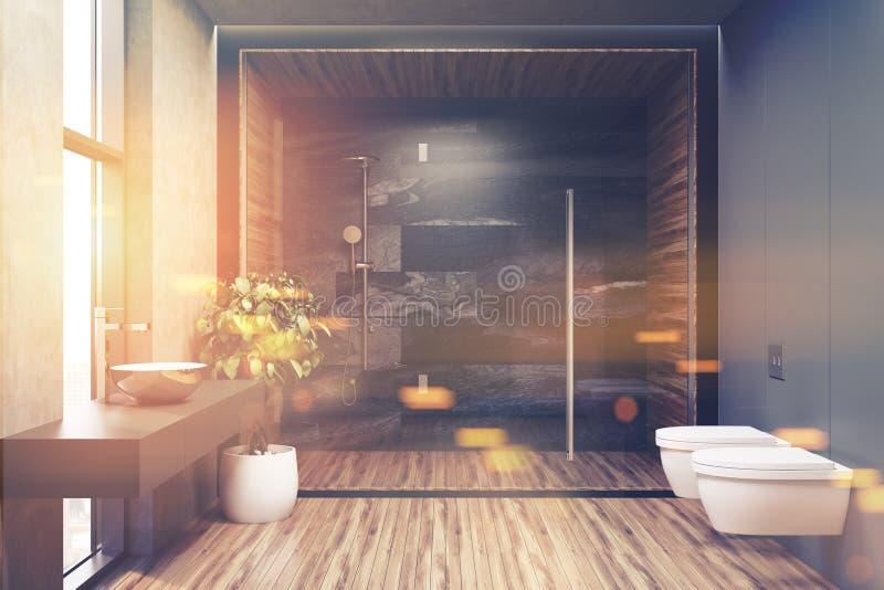 一个灰色卫生间的内部有被定调子的木地板的 向量例证