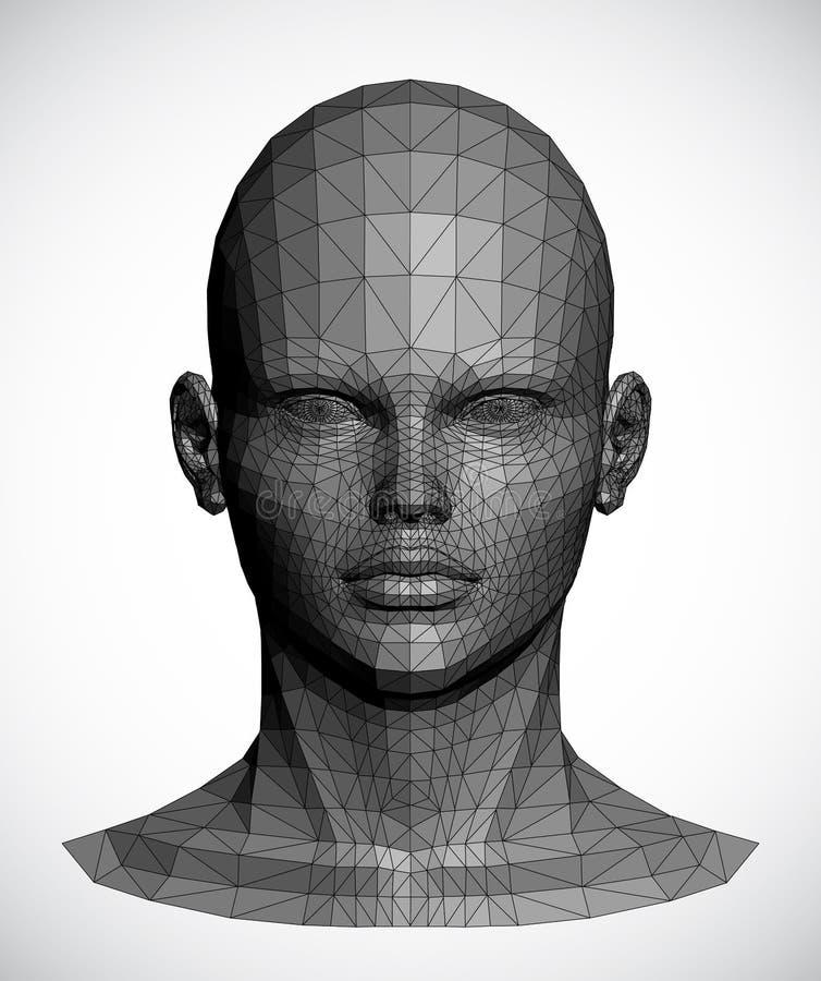 一个灰色女性头的传染媒介 免版税图库摄影