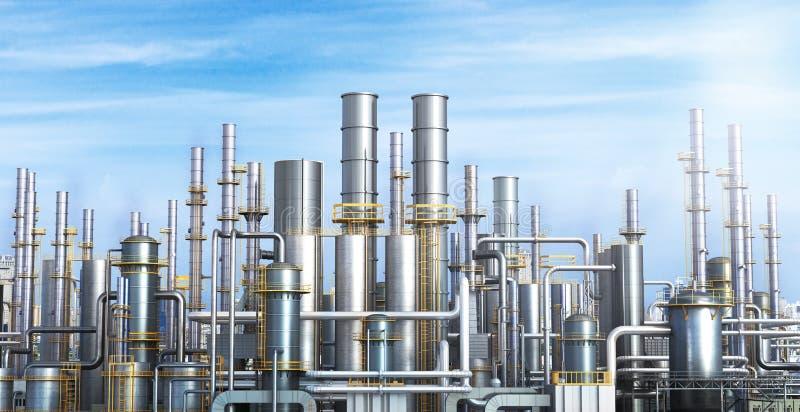 一个炼油厂的管道反对黑暗的天空的 向量例证