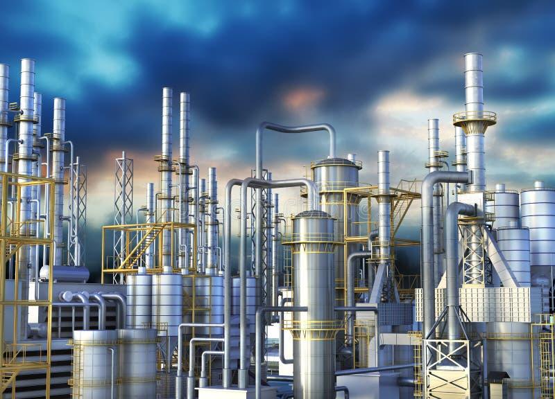一个炼油厂的管道反对黑暗的天空的 库存例证