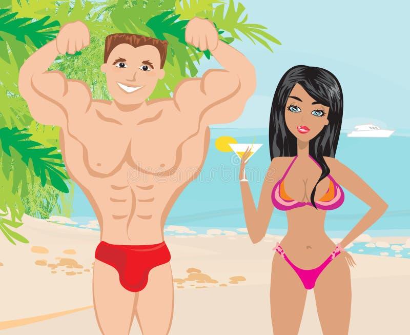 一个热带风景的年轻夫妇调情的人 库存例证