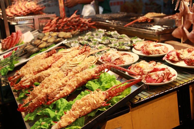 一个热狗台湾夜市场 免版税库存图片