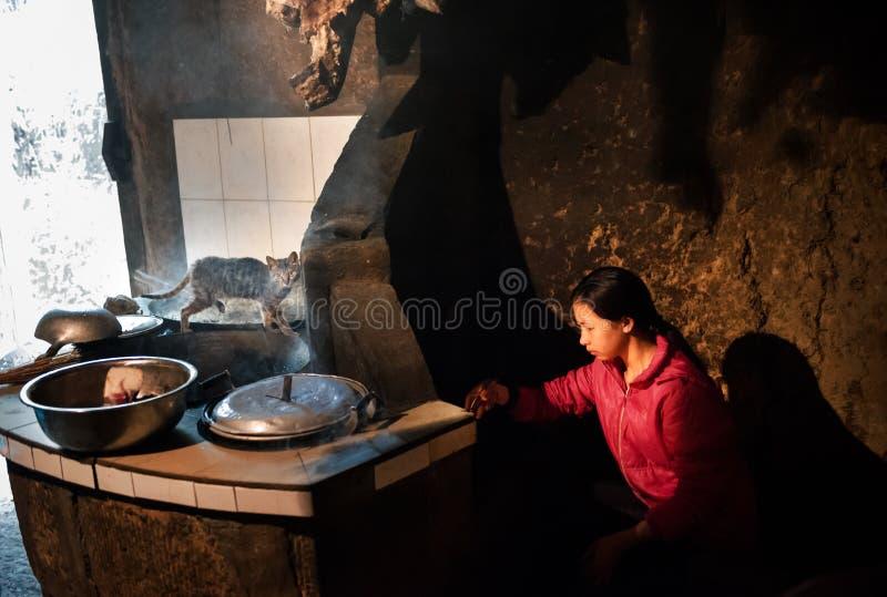 一个烹调中国女孩 免版税库存照片