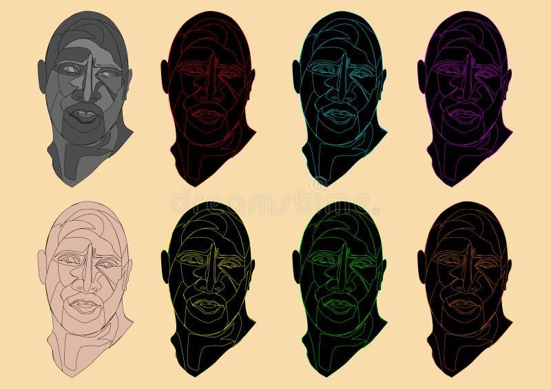 一个独特的五颜六色的人头的例证 免版税库存照片