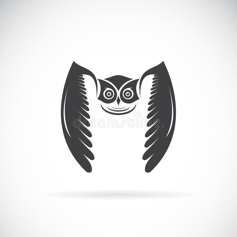 一个猫头鹰设计的传染媒介在白色背景的 双翼飞机 徽标 向量例证