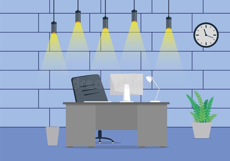 一个现代办公室工作场所设计的设计与一个时钟的在墙壁上 向量例证