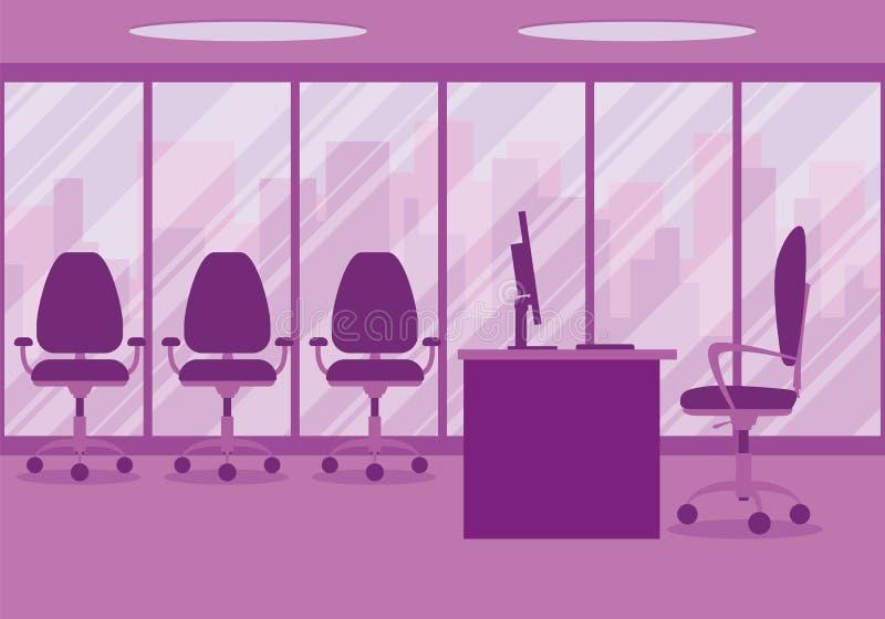 一个现代办公室设计师工作场所的设计桃红色的 库存例证