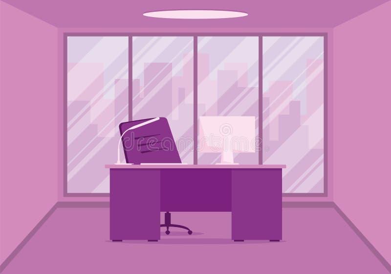 一个现代办公室设计师工作场所的设计桃红色的 向量例证