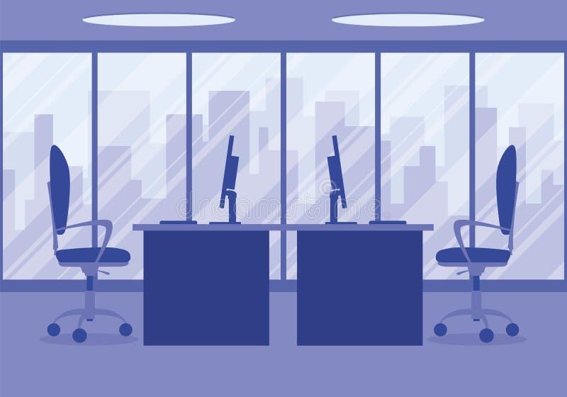 一个现代办公室设计师工作场所的设计紫色的 库存例证