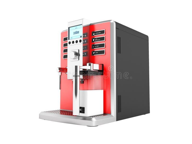 一个现代多功能咖啡机器用牛奶在的红色3d 向量例证