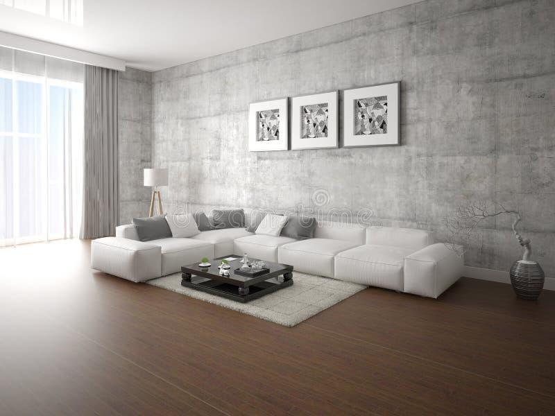 一个现代客厅的嘲笑有一个大壁角沙发的 库存例证