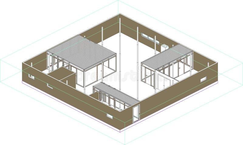 一个现代房子的Wireframe透视在日本 向量例证