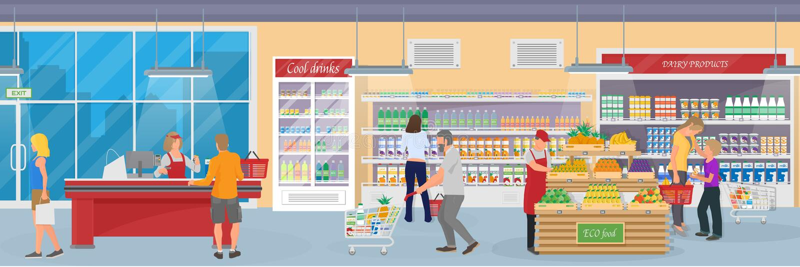 一个现代超级市场的内部有物品、买家和雇员的 皇族释放例证