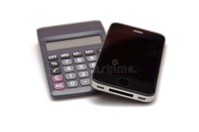 一个现代NO-名字智能手机和计算器,财务,经济,办公室工具 库存图片