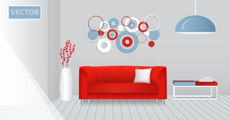 一个现代客厅的现实内部 红色原始的设计 皇族释放例证