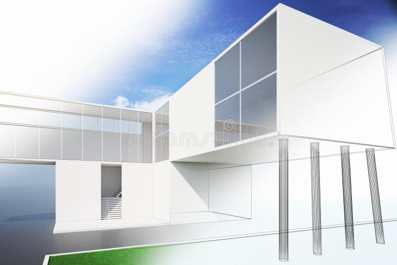 一个现代房子计划的外部 库存例证