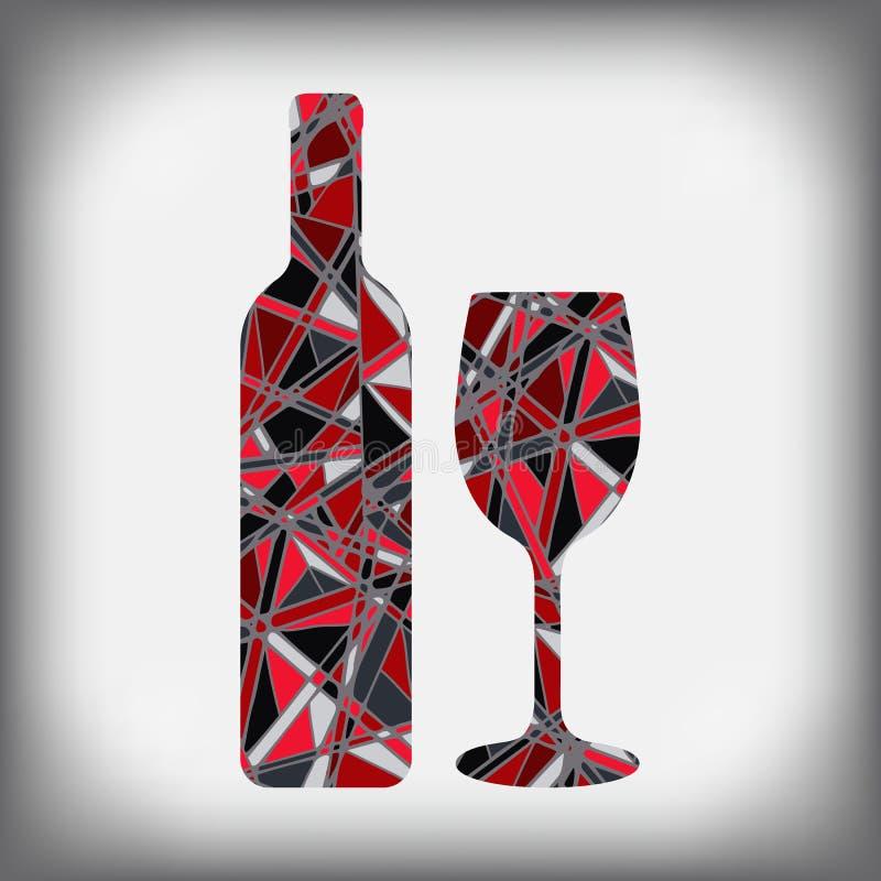 一个瓶与玻璃抽象图的酒 向量例证