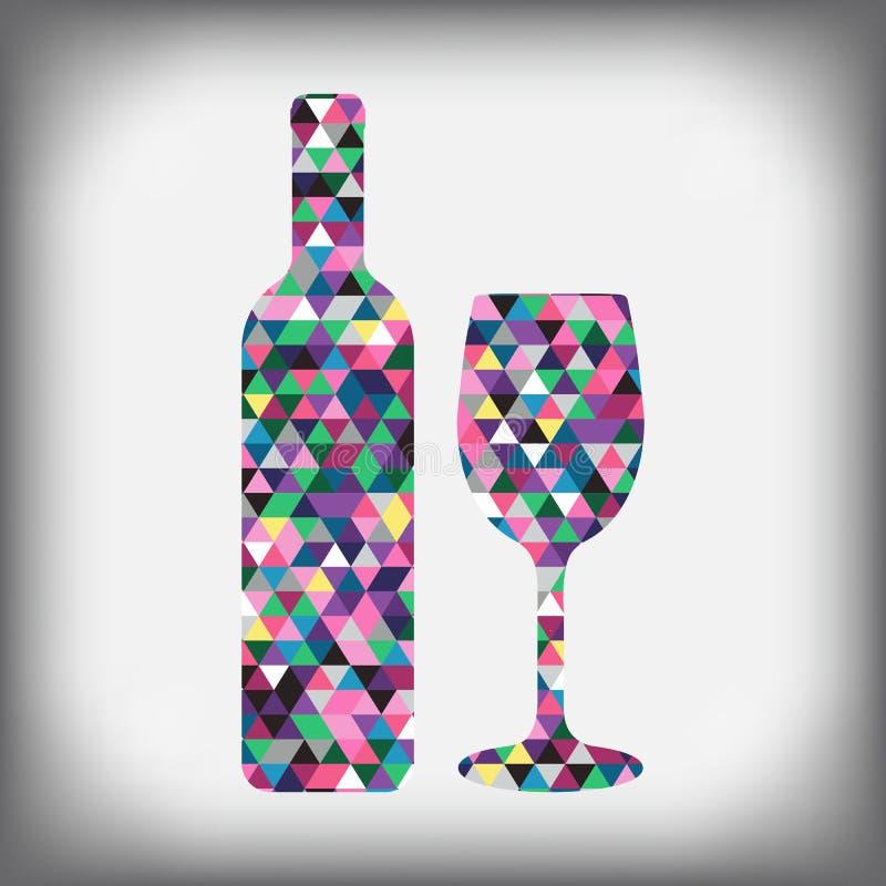 一个瓶与玻璃抽象图的酒 皇族释放例证