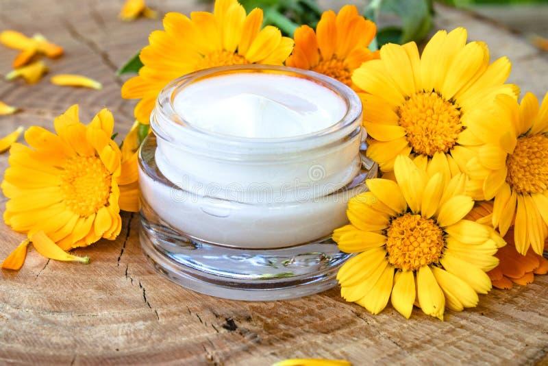 一个瓶子身体关心的白色化妆奶油 在木背景的新鲜的橙色金盏草花 库存照片