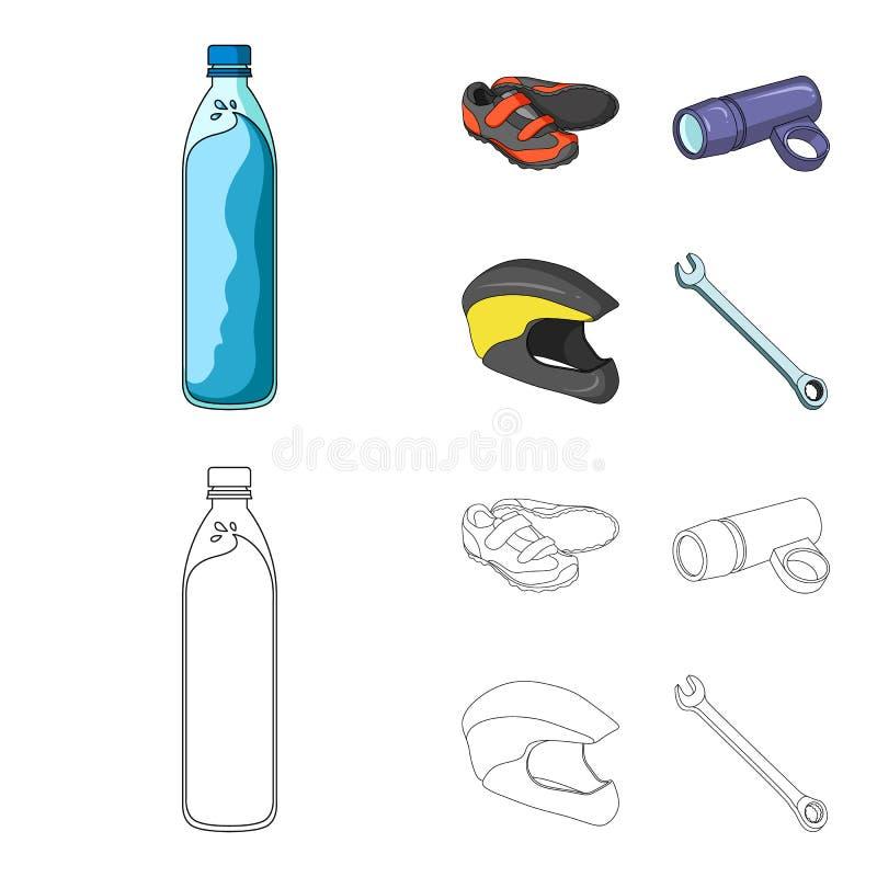 一个瓶水,运动鞋,自行车的,一件防护盔甲一个手电 骑自行车者成套装备集合汇集象 皇族释放例证