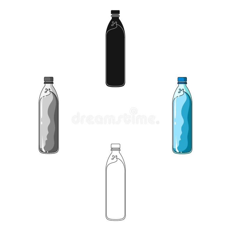 一个瓶水 冷却自行车骑士的水,当乘坐时 在动画片,黑样式传染媒介的骑自行车者成套装备唯一象 向量例证