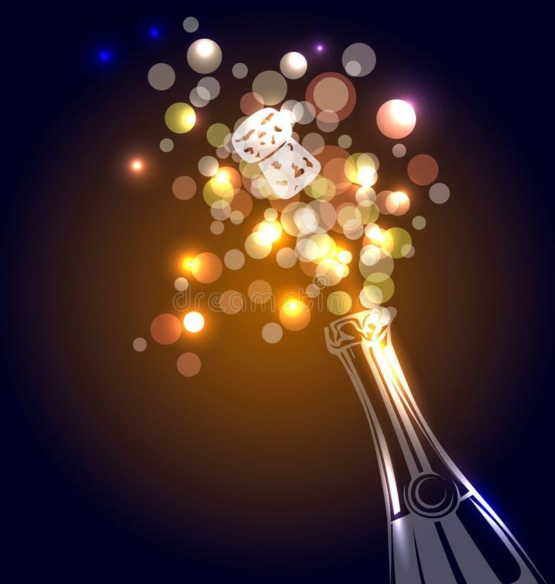 一个瓶的传染媒介例证香槟 库存例证